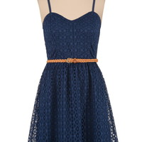 textured lace dress with belt