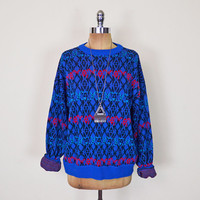 Vintage 80s 90s Blue Abstract Sweater Jumper Abstract Print Sweater Cosby Sweater Slouchy Oversize Sweater 80s Sweater Hipster Sweater S M L