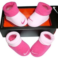 Nike Newborn Baby Booties Pink , Size 0-6 Months