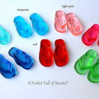 FLIP FLOPS ASSORTED Colors Candy Bite-Sized Barley Sugar Hard Candy Cupcake Toppers Cake Decor Candy Buffet Gifts