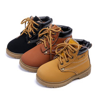 Winter Fashion Child Leather Snow Boots For Girls Boys Thicken Warm Martin Boots Shoes Casual Plush Child  Baby Toddler Shoe