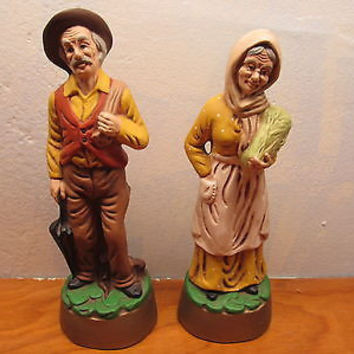 VINTAGE HANDMADE IN KANSAS FRENCH COUNTRY COUPLE CERAMIC