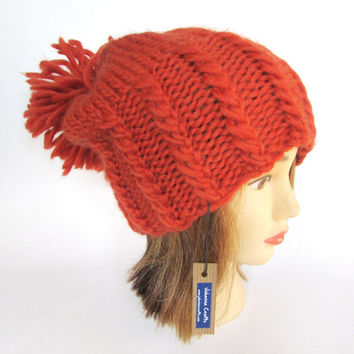 Burnt orange large pom pom hat slouch hat chunky knit hat warm winter hat fun hat with big pompom fun extra slouchy beanie hat pure wool hat