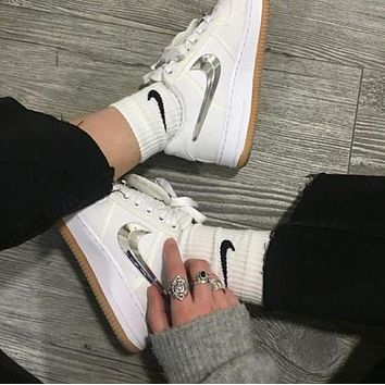 NIKE AIR FORCE 1 LOW TRAVIS SCOTT 3M reflection Men and women casual shoes lovers shoes