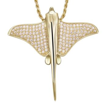YELLOW GOLD SOLID 925 STERLING SILVER HAWAIIAN STINGRAY FISH SLIDE PENDANT CZ