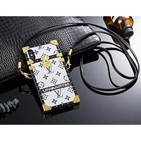 LV trend men and women models white print iphone X mobile phone case cover