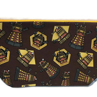 Dr Who,  Dalek , Tardis, knitting project bag, Travel Pouch,  Planner Pouch, Makeup Bag, Toiletry Bag, Zipper Pouch