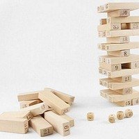 Pine Jenga Box 54 Pieces 4 Dices Presented Bulding Stock Domino Small Digit Jeng