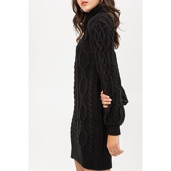 Cable Knit Turtleneck Balloon Sleeve Sweater Dress
