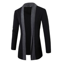 2017 Fashion Men Jacket Slim Long Sleeve Casual Patchwork Knitting Cardigan Stand Collar with Pocket Men Warm Autumn Sweater