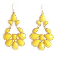 Yellow Gold Plated Chandelier Earrings - Chic Canary Pastel Drops