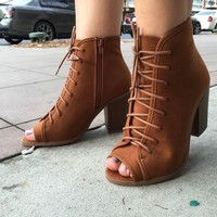Georgia Cognac Lace Up Booties