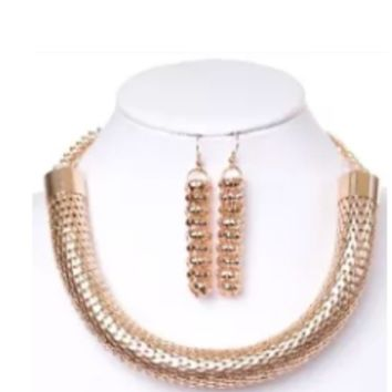 """16"""" gold mesh thick tube choker collar necklace 2.25"""" earrings"""