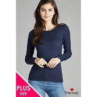 Womens Plus Size Fashion Long Sleeve Crew Neck Thermal Top