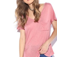 Pocketed Scoop Neck Tee Tops GS-LOVE
