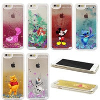 Latest Popular Lilo & Stitch Pooh Cute Cartoon Liquid Quicksand Star Sparkle Case For iPhone 4 4S 5 5S 5C