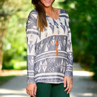 Aztec Love Top, Grey