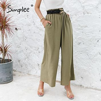 Solid Color High Waist Wide Leg Pants Women Loose Casual Summer Pants Trousers Classic Ruffled Soft Long Female Bottoms