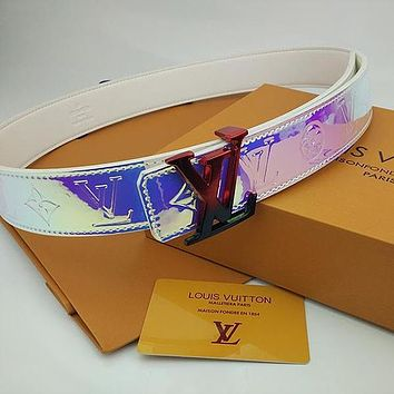 Louis Vuitton Lv Men's And Women's Leather Gradient Belt Two-letter Buckle Temperament Belt