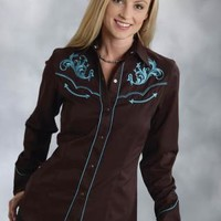 Women's Long SleeveRoper P 35r Solid Brown Twill With Victorian Old West Collection