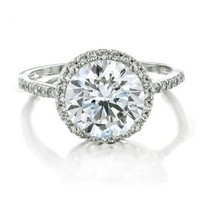 Bling Jewelry Vintage Style 925 Sterling Silver CZ Round Engagement Ring