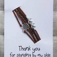 Thanks For Standing By My Side Card Unisex Birds Infinity Brown Firnedship Bracelet