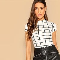 SHEIN Black and White Plaid Peplum Stand Collar Belted Top Gingham Pullovers  Casual Women Tshirt And Short Sleeve tops