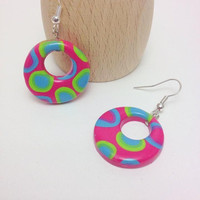 Round Polymer Clay Dangle Summer Earrings, Bright Colors Jewelry, Summery Jewelry, Designer Earrings, JosCreationsGR