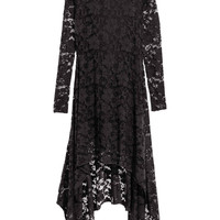 Black High & Low Floral Lace Maxi Dress