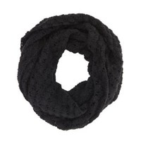 Black Open Knit Infinity Scarf by Charlotte Russe