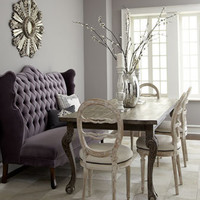 """Haute House - """"Isabella"""" Wing Banquette, """"Liday"""" Dining Table, & Swedish Side Chair - Horchow"""