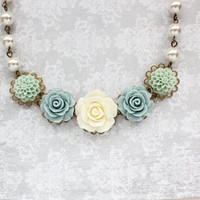 Rose Bridal Necklace Floral Statement Necklace Mint Wedding Jewelry Pearl Chain Flower Bib Necklace Ivory Cream Light Blue Mothers Day