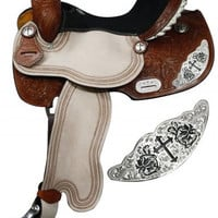 Saddles Tack Horse Supplies - ChickSaddlery.com Double T Barrel Style Saddle With Engraved Silver Cross Accents