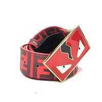 Fendi Zucca Monster Belt Men 38 Red Leather Gold Buckle ZM