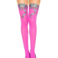 Pink Alice in Wonderland Cheshire Cat Pantyhose