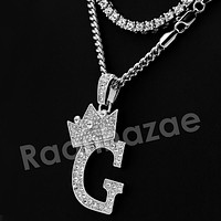 King Crown G Initial Pendant Necklace Set (Silver)