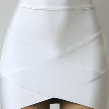 Candy-Colored Cross Wrap Mini Bodycon Skirt