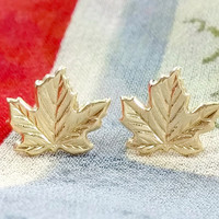14k Yellow Gold Stud Earrings Maple Leaf National Symbol of Canada Petite With Butterfly Backings Excellent Condition and Cute to Boot!