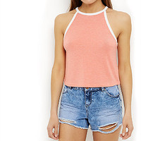 Bright Orange Contrast Trim High Neck Crop Top