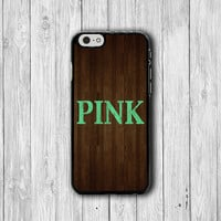 PINK HIPSTER MINT iPhone 6 Cases, iPhone 5 / 5S, iPhone 4 / 4S, Wooden Phone Cases, Green Text iPhone 6 Plus, Wooden Cover Natural Rubber