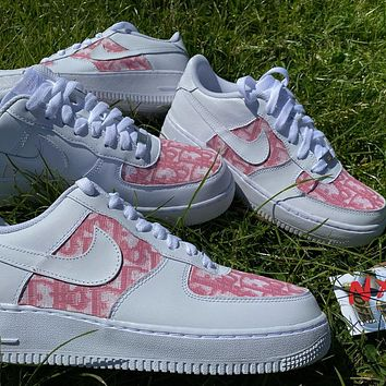 Dior x Nike Air Force 1 AF1 Women's Low-Top Flat Sneakers Shoes
