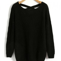 Black Chunky Knit Jumpers with Cut Out and Cross Straps Design