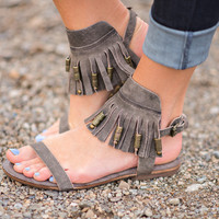 Treasures Are Mine Fringe Leather Sandal (Charcoal)