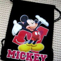 MICKEY MOUSE HANDS IN AIR BLACK DRAWSTRING BAG BACKPACK TRAVEL STRING POUCH-V2