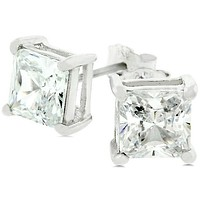 Haley Princess Cut Stud Earrings  – 6mm  | 1.25 ct | Sterling Silver