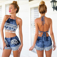 New Summer Fashion 2 Pieces Women'S Dress Sexy Style Backless Print Mini Playsuits = 1946886660