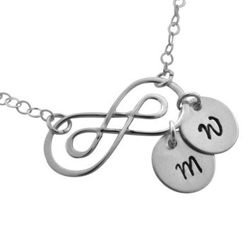 Wedding Gift, Personalized Double Infinity Monogrammed Necklace, Sterling Silver Infinity with Sterling Initials, Anniversary Gift, Mothers