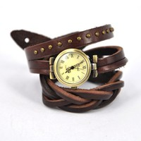 The twist braid winding Rome Leather Wrap Watch by unusual