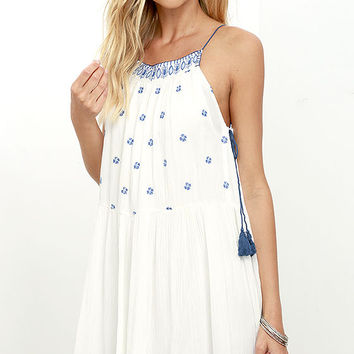 Patrons of Peace Sandy Blue and Ivory Embroidered Dress