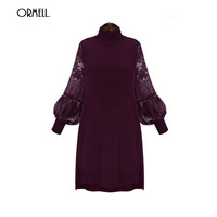 ORMELL Women New Sexy Long Lace Sleeve Dress Basic Turtle Neck Casual Streetwear Brand Dresses Plus Size Vestidos
